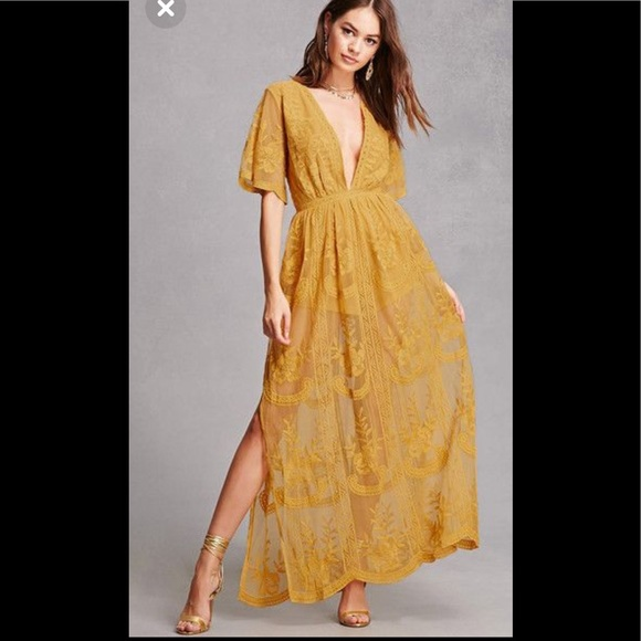539db9497f Honey Punch Dresses | Lace Maxi Dress In Yellow | Poshmark